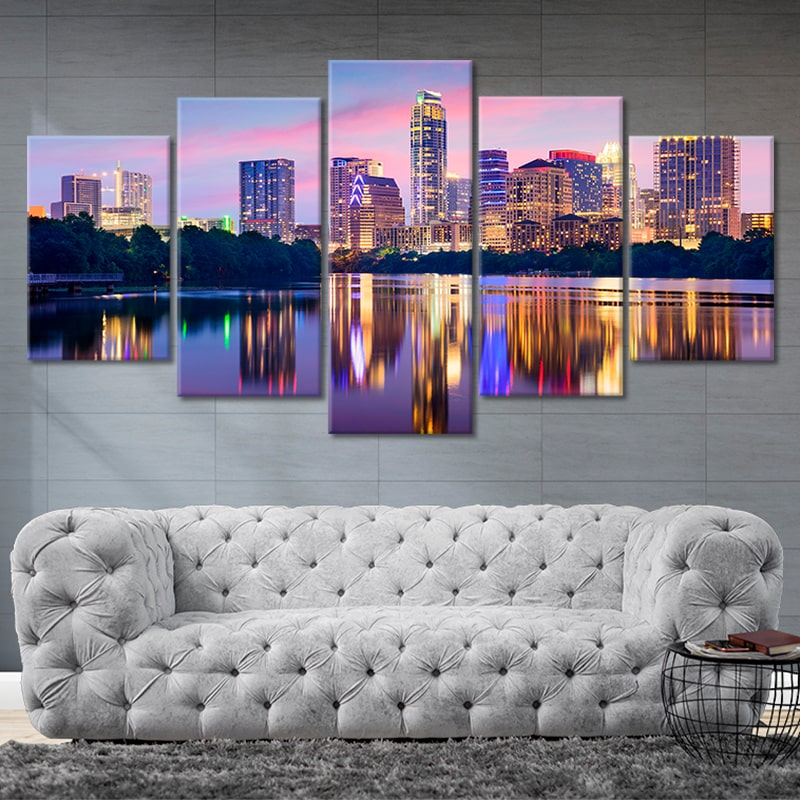 Austin Skyline At Night 5 piece canvas art