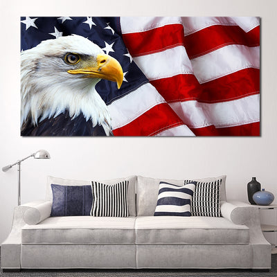 American Flag with bold eagle canvas wall art large