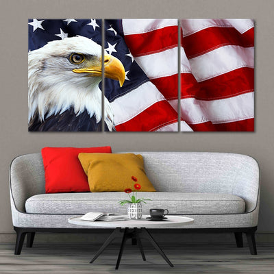 American Flag with bold eagle  3 piece wall art