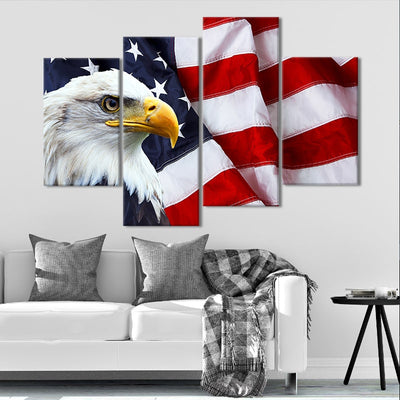 American Flag with bold eagle wall art set of 4