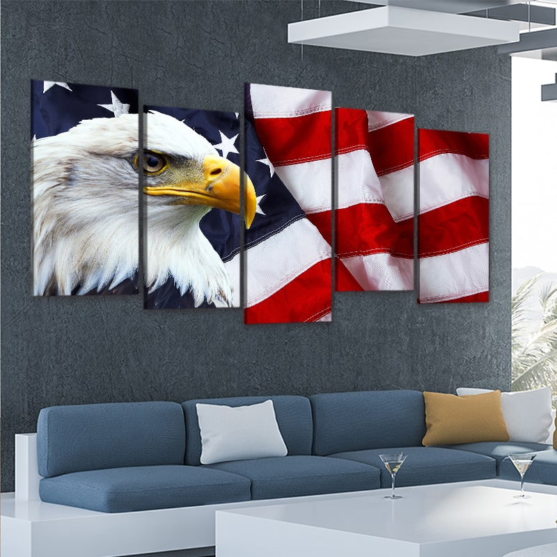 American Flag with bold eagle 5 piece wall art