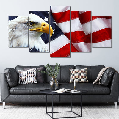 American Flag with bold eagle 5 piece canvas art