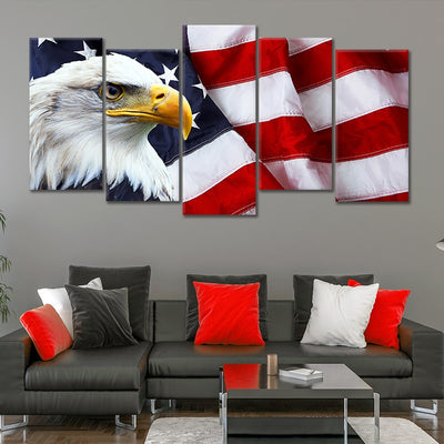 American Flag with bold eagle5 piece canvas art