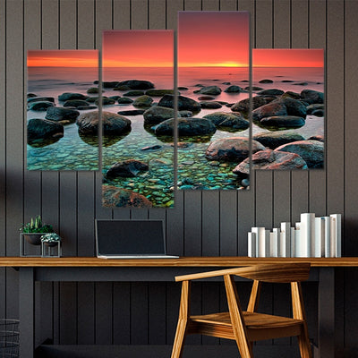Pebbles Beach At Sunset Multi Panel Canvas Wall Art