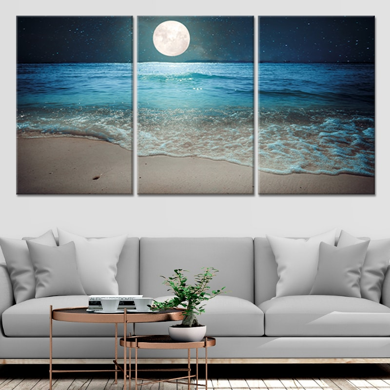 Romantic Moonlit Beach Multi Panel Canvas Wall Art