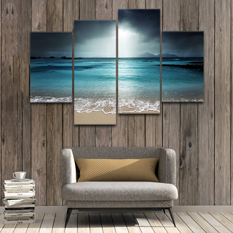 Beach At Twilight Canvas Wall Art Set