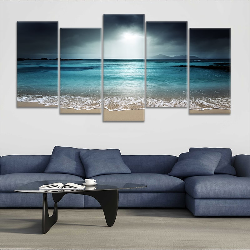blue beach at Twilight 4 piece canvas wall art