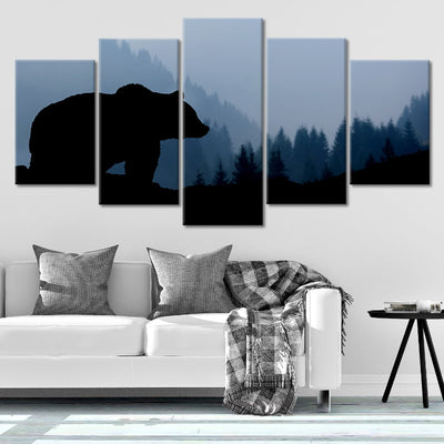 Wild Black Bear Multi Panel Canvas Wall Art
