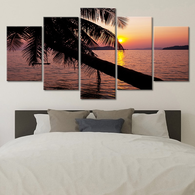 Beautiful Sunset On A Tropical Beach With Palm Tree canvas wall art