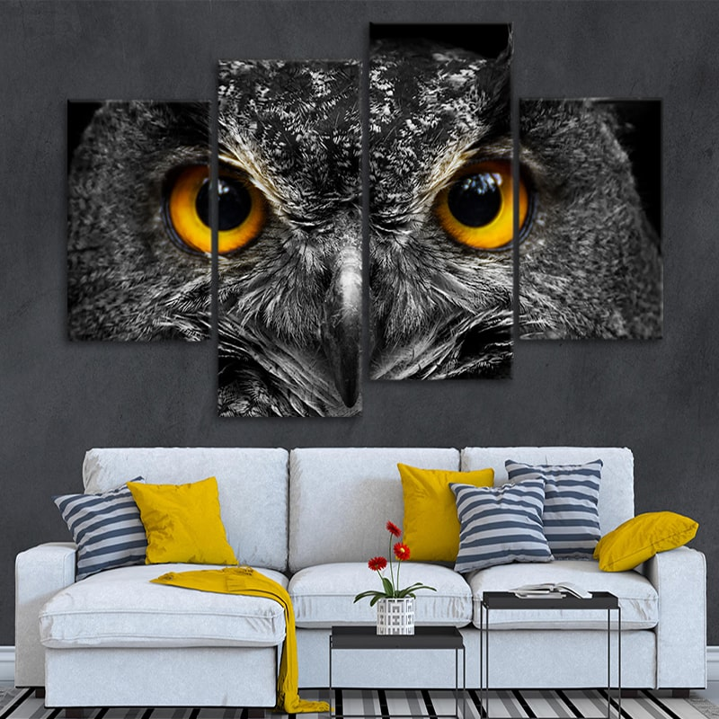 Big Gold Eyed Owl Multi Panel Canvas Wall Art
