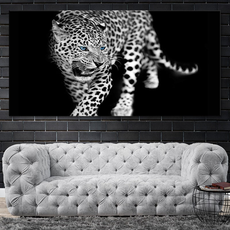 Black and white Blue Eyed Jaguar Canvas Wall Art