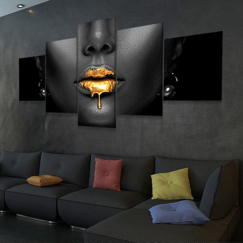 black woman with golden lips canvas wall art