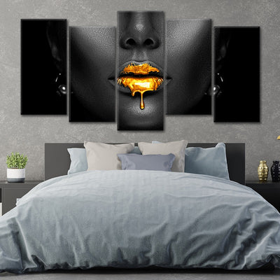 black woman with golden lips wall canvas