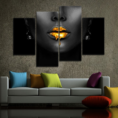 black woman with golden lips multi panel wall art