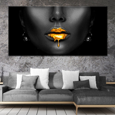 black woman with golden lips canvas prints cheap