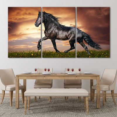 Black Horse Wall Canvas