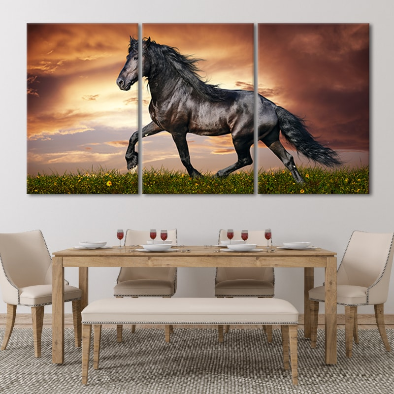 Black Horse Multi Panel Canvas Wall Art