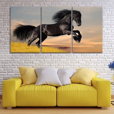 Black Horse Galloping In The Sunset 3 Piece Canvas Wall Art Painting