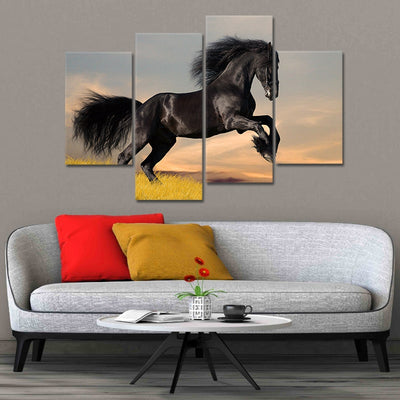 Black Horse Galloping In The Sunset 4 Piece Canvas Wall Art Painting