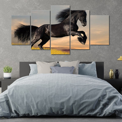 Black Horse Galloping In The Sunset 5 Piece Canvas Wall Art Painting