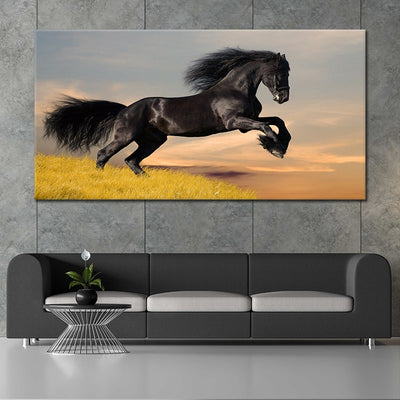 Black Horse Galloping In The Sunset Canvas Wall Art Painting