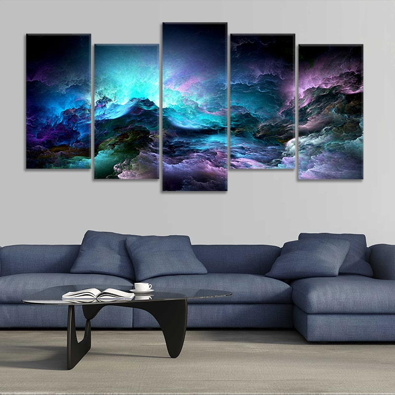 Blue Abstract Clouds Multi Panel Canvas Wall Art