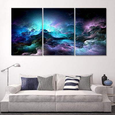Blue Abstract Clouds 3 piece wall art