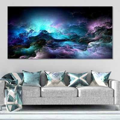 Blue Abstract Clouds canvas wall art large