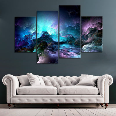 Blue Abstract Clouds wall art set of 4