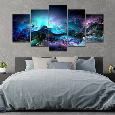 Blue Abstract Clouds 5 piece canvas art