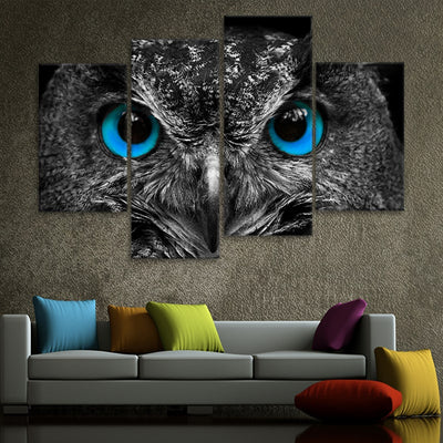 Blue Eyed Owl Multi Panel Canvas Wall Art