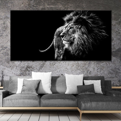 black and white lion canvas