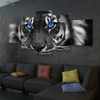 Blue Eyed Tiger Multi Panel Canvas Wall Art