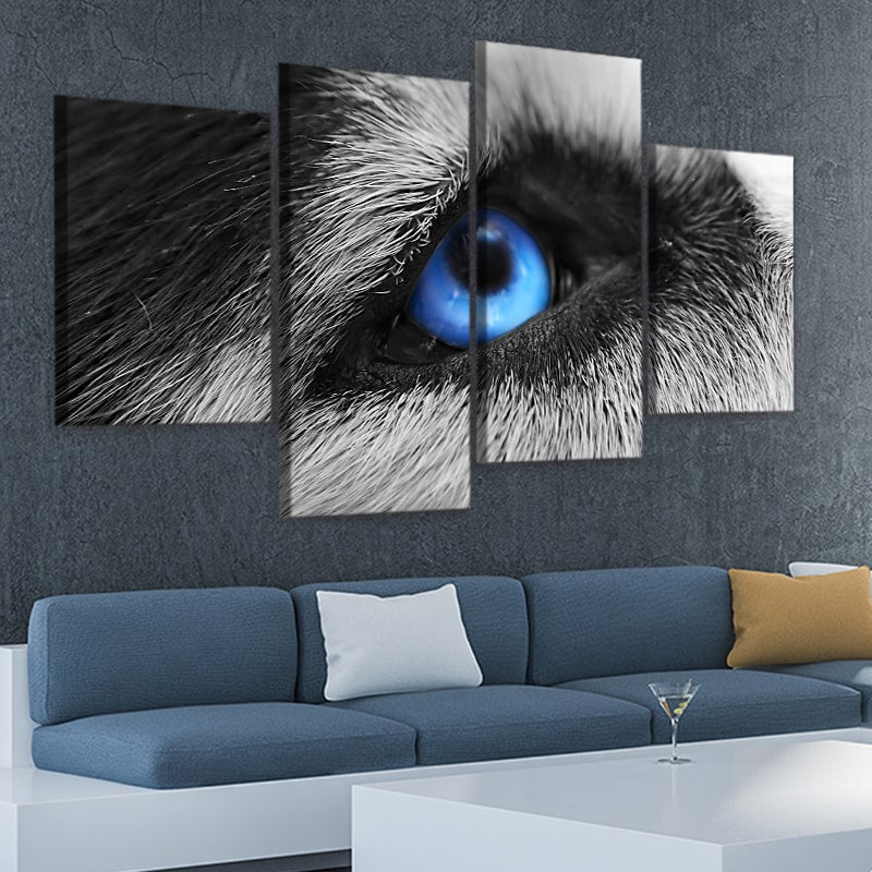 Blue Eyed Wolf Multi Panel Canvas Wall Art