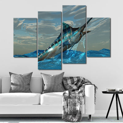 Blue Marlin jumping out of water 4 piece wall canvas