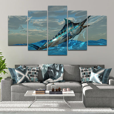 Blue Marlin jumping out of water Canvas Wall art