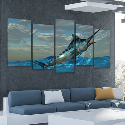 Blue Marlin jumping out of water multi panel wall art