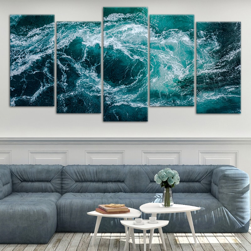 Blue Ocean Waves Canvas Wall Art