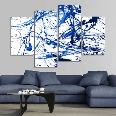 Blue Paint Splash Canvas Wall Art