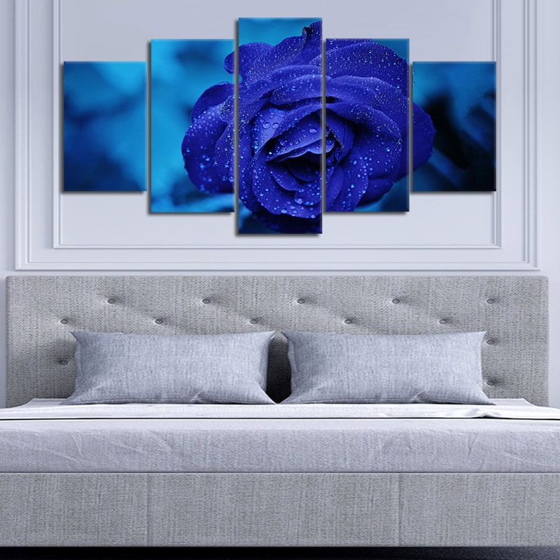 Royal Blue Rose 5 piece wall art