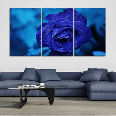 Royal Blue Rose 3 piece wall art