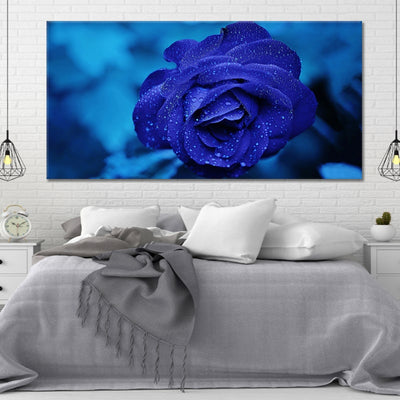 Royal Blue Rose canvas wall art large