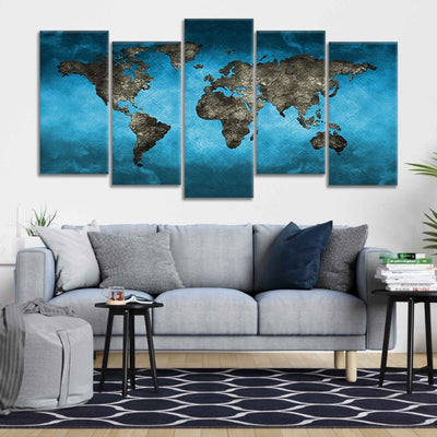 Blue World Map Multi Panel Canvas Wall Art
