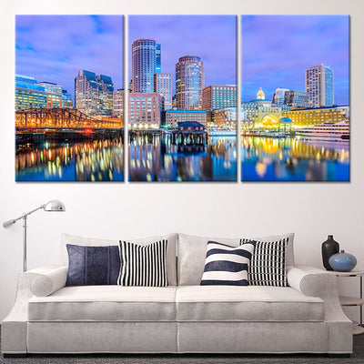 Boston Skyline At Dusk 3 piece wall art