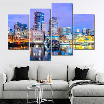 Boston Skyline At Dusk wall art set of 4