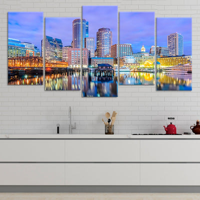 Boston Skyline At Dusk 5 piece wall art