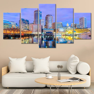 Boston Skyline At Dusk 5 piece canvas art