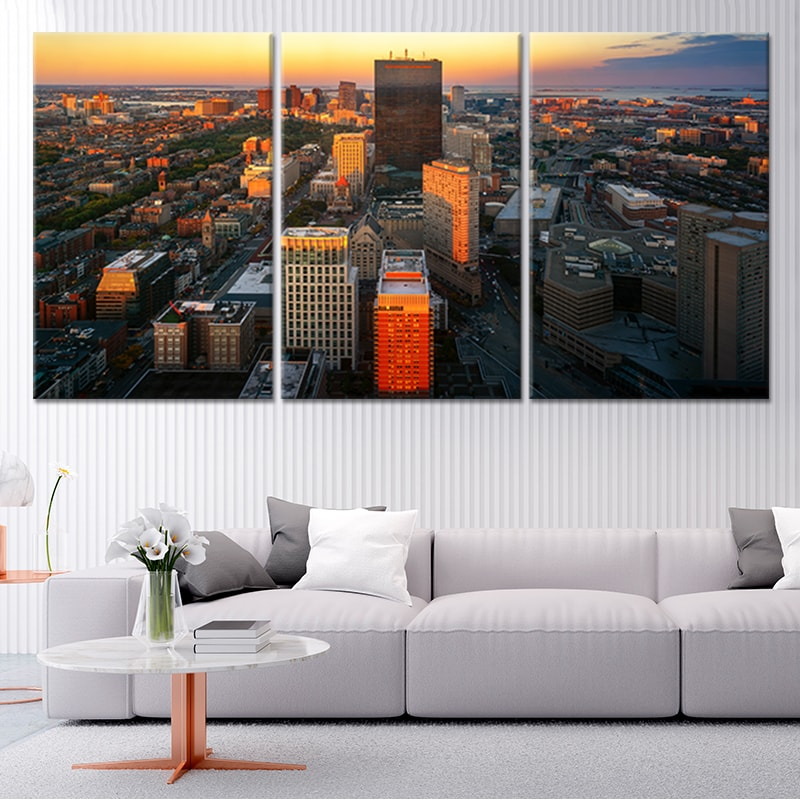 Boston Skyline Canvas 3 piece wall art