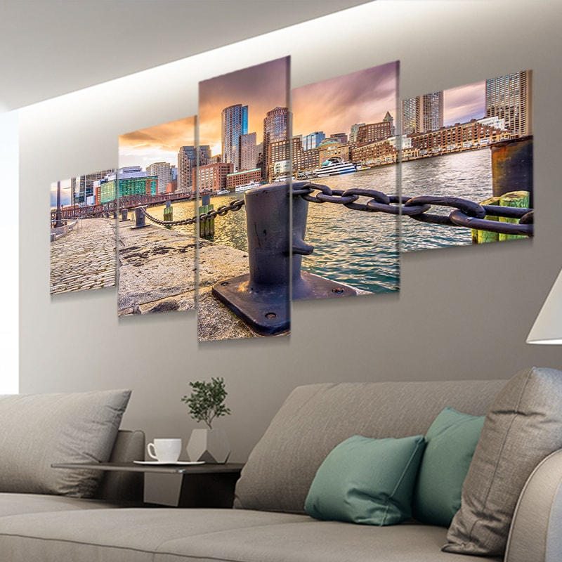Boston Skyline 5 piece canvas art