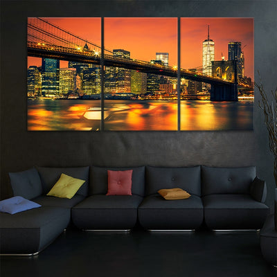 brooklyn bridge at night 3 piece wall art